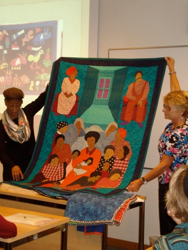 Peggy Hartwell, Aurora Ortiz, Deborah Stockdale, and Lisa Garlock presented their narrative textiles.